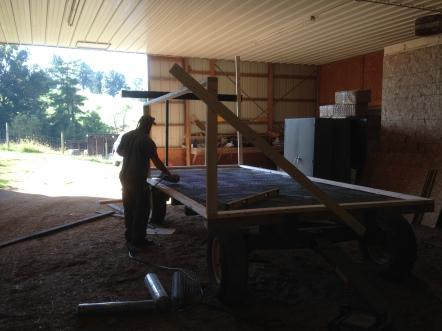First steps. Pull off hay wagon flooring, add chicken wire.